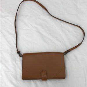 Zara crossbody convertible clutch brown bag